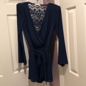 Navy romper, bow, lace back